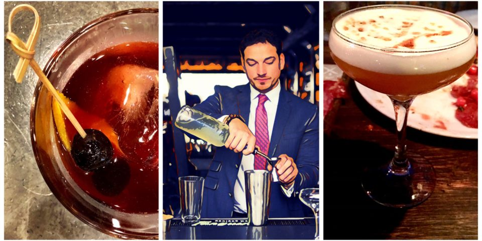 Collage of cocktails and Ervin Machado